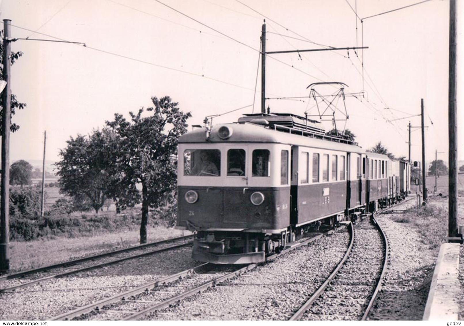 Chemin De Fer, Lausanne Echallens Bercher, Train Mixte à Assens, Photo 1964 BVA LEB 78.6, 10x15 - VD Vaud
