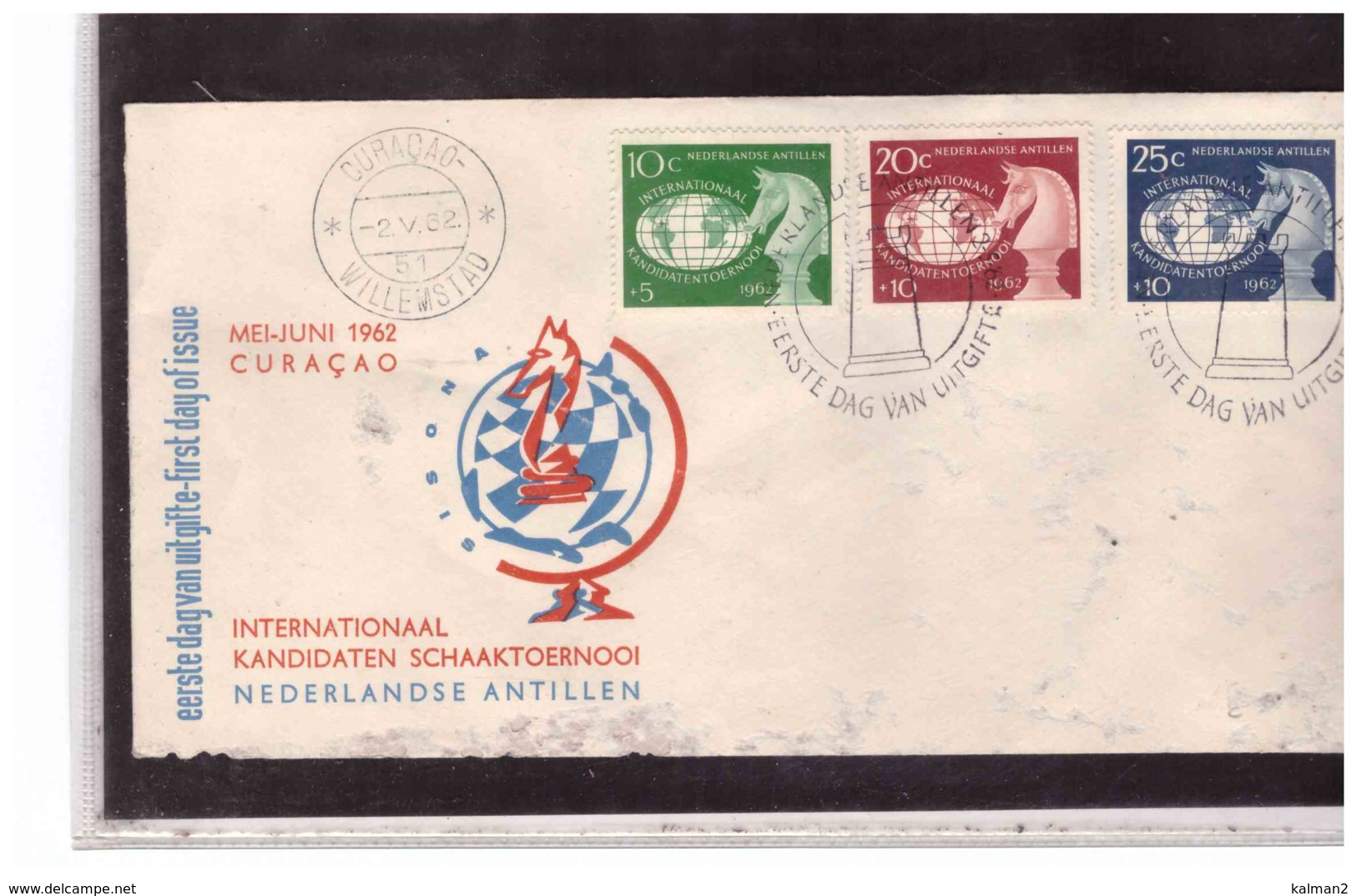 TEM2679   -   CURACAO  2.6.1962   /   FDC  TEMATICA SCACCHI - Scacchi
