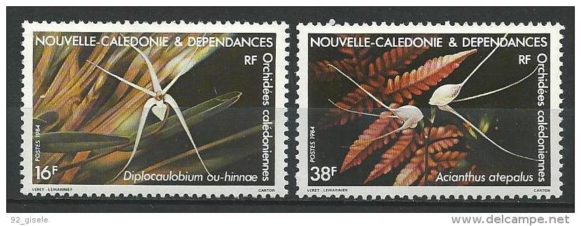 """Nle-Caledonie YT 488 & 489 """" Orchidées """" 1984 Neuf** - New Caledonia"""