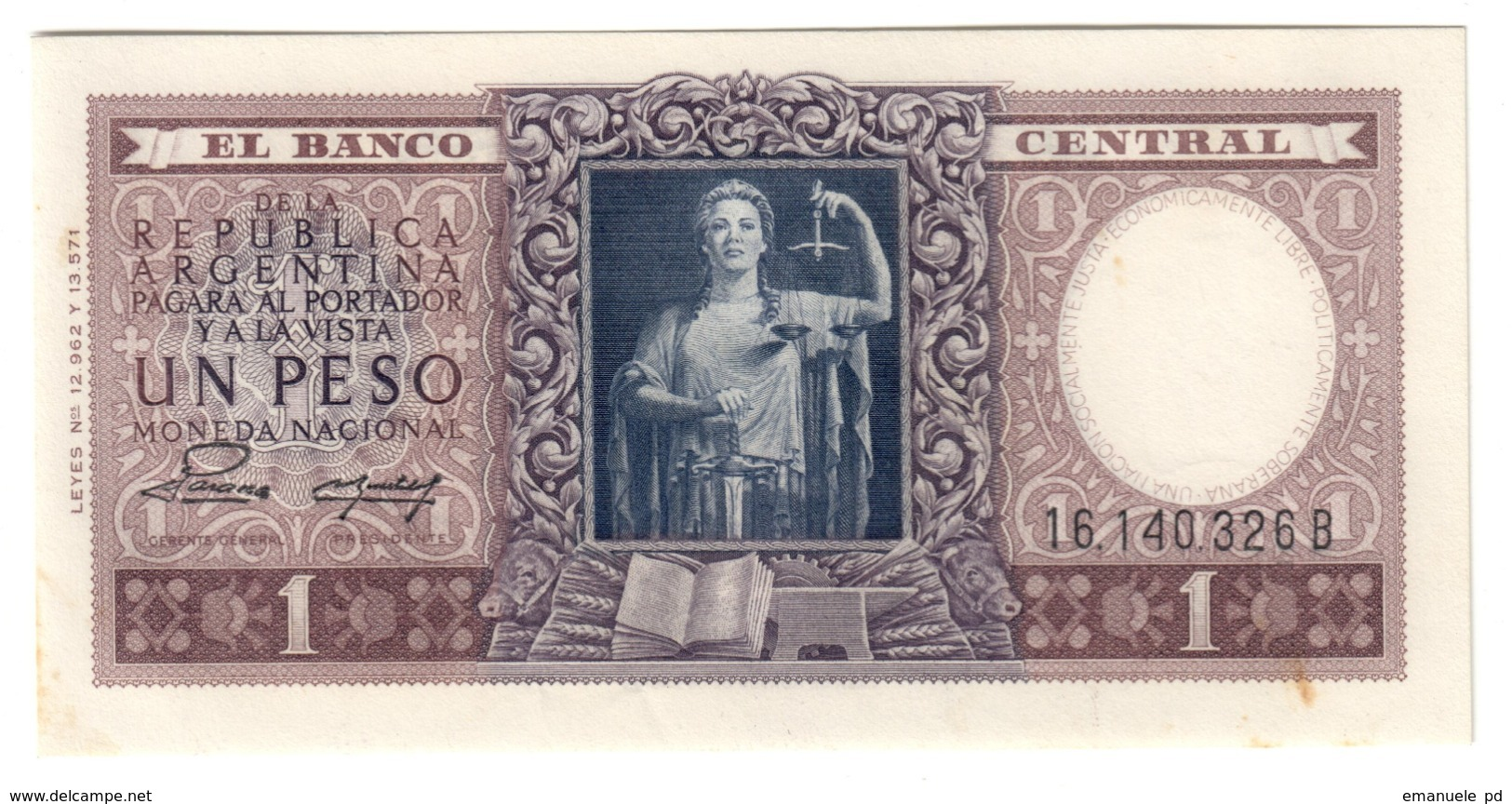 ARGENTINA1PESO1947P257UNC-.CV. - Argentina