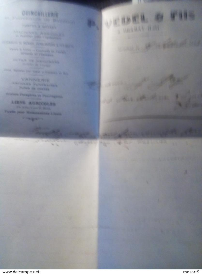 Jolie Facture GRAMAT LOT 1923 VEDEL & FILSquincaillerie  Ferronnerie Du Batiment TB - 1900 – 1949