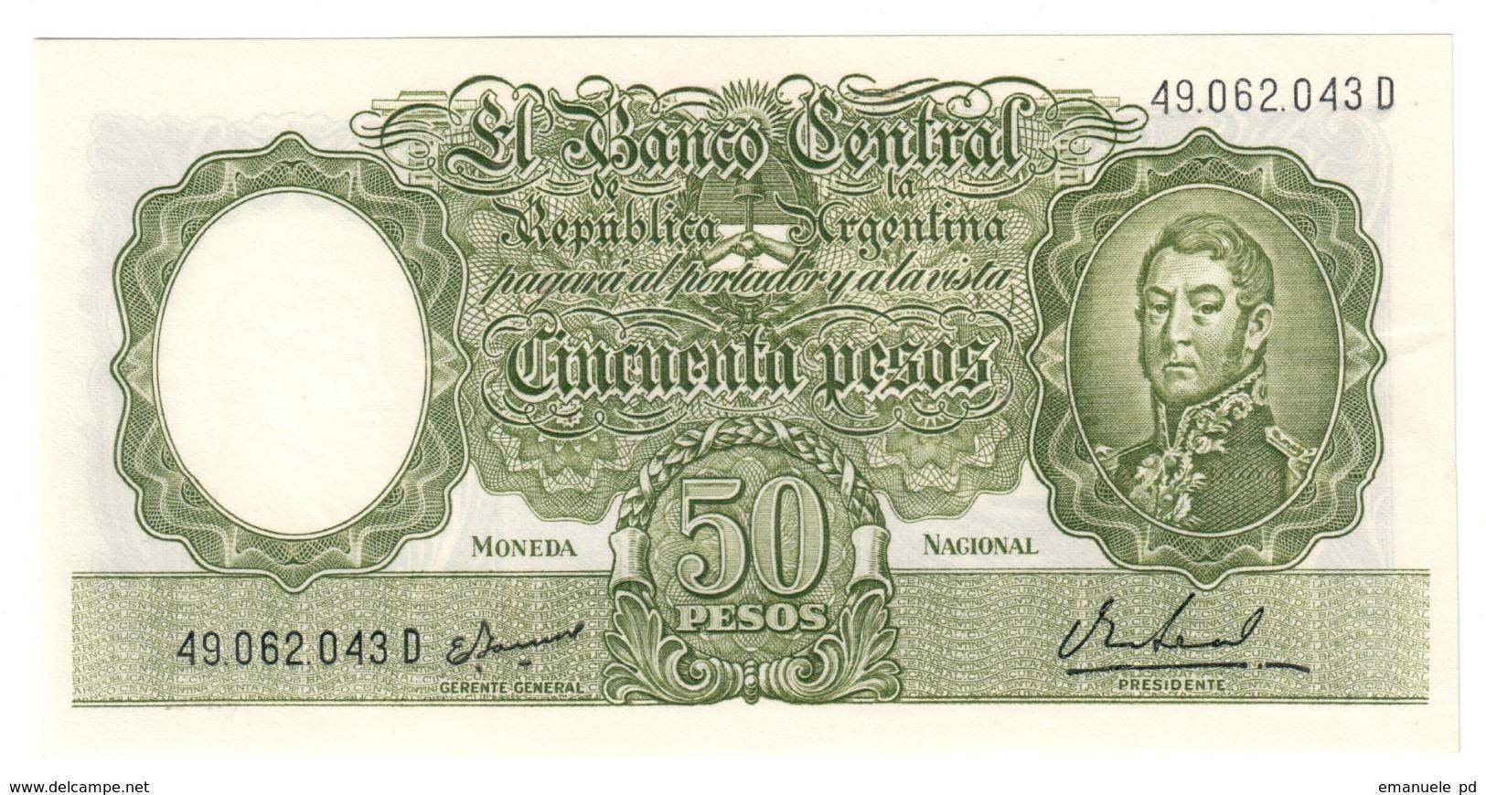 ARGENTINA50PESO1955P271UNCGerente General / Presidente 271A.CV. - Argentina