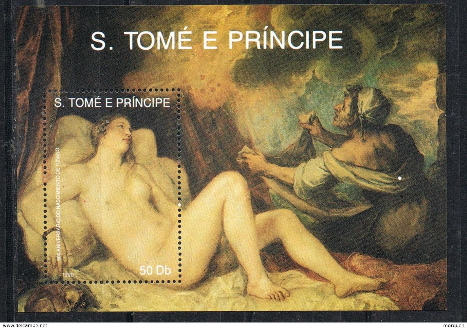 34091.  Hojita Pintor TIZIANO, Santo Tomé E Principe 1990. Danae Recibiendo Lluvia De Oro ** - Arte
