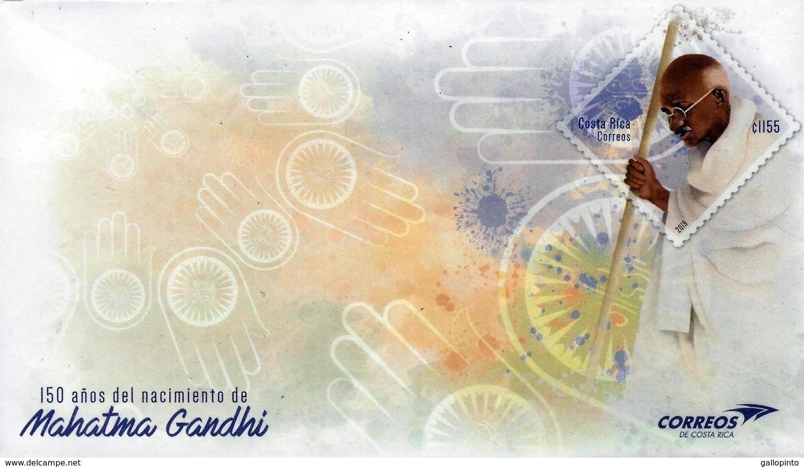 COSTA RICA 150 YEARS BIRTH Of MAHATMA GANDHI PREPAID COVER 2019 - Mahatma Gandhi