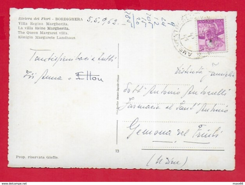 CARTOLINA VG ITALIA - BORDIGHERA (IM) - Villa Regina Margherita - 10 X 15 - ANN. 1962 - Imperia