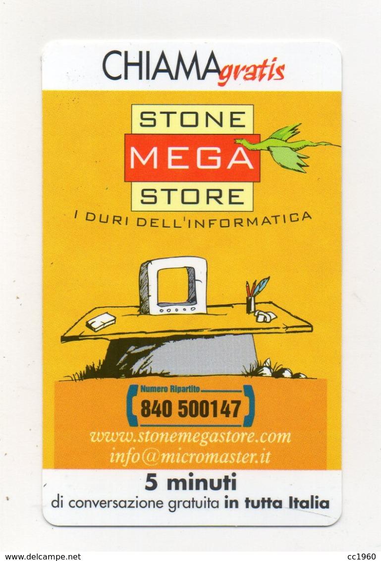 """Scheda Telefonica """" Chiama Gratis """"  Stone Mega Store - 5 Minuti - Nuova - Scadenza 30.6.2002 - (FDC17567) - Italia"""