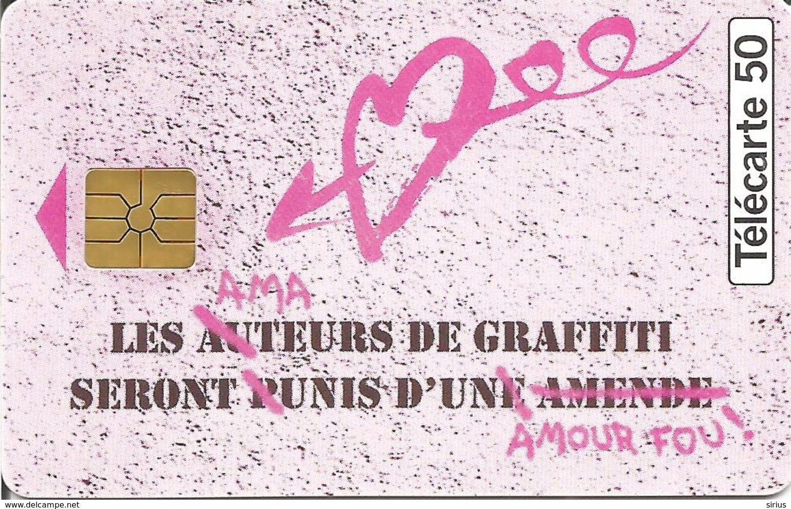 Télécarte AMOUR FOU - PARFUM GRAFFITI NAF NAF - 50 U GEM - 09/95 Utilisée N° 568 - Parfum