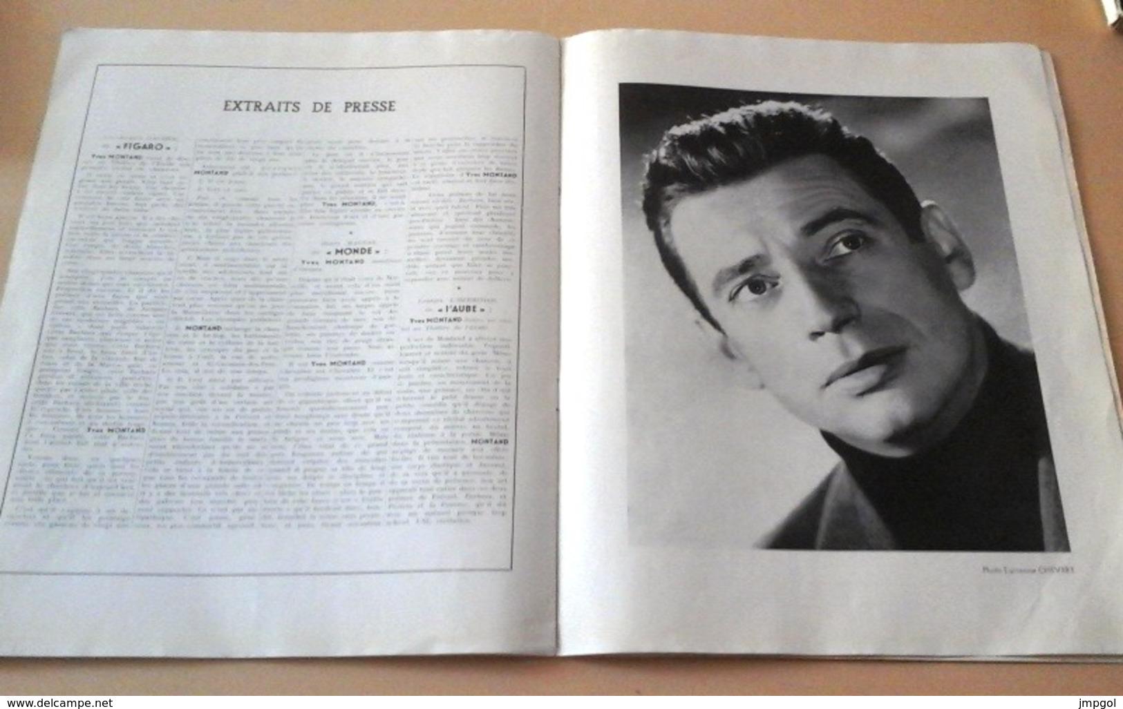 Programme Récital Yves Montand Avec Autographe Du Chanteur Sur La Dernière Page - Autógrafos