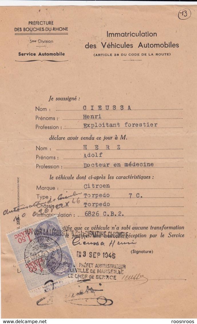 FISCAUX SUR CERTIFICAT DE VENTE CITROEN TORPEDO - 1946 - France