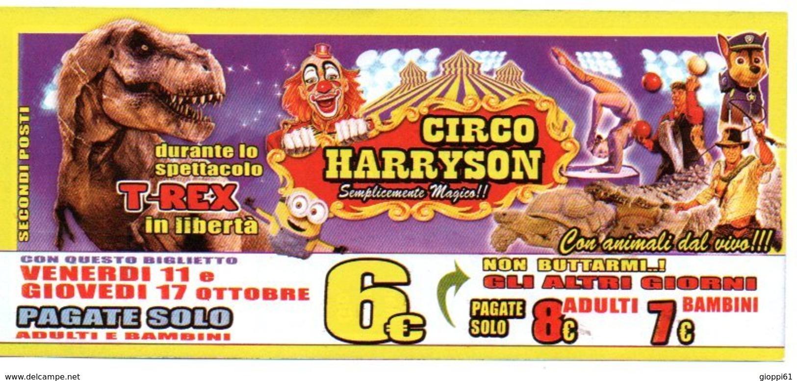 Biglietto D'Ingresso Circo Harryson (fronte E Retro) - Tickets - Vouchers
