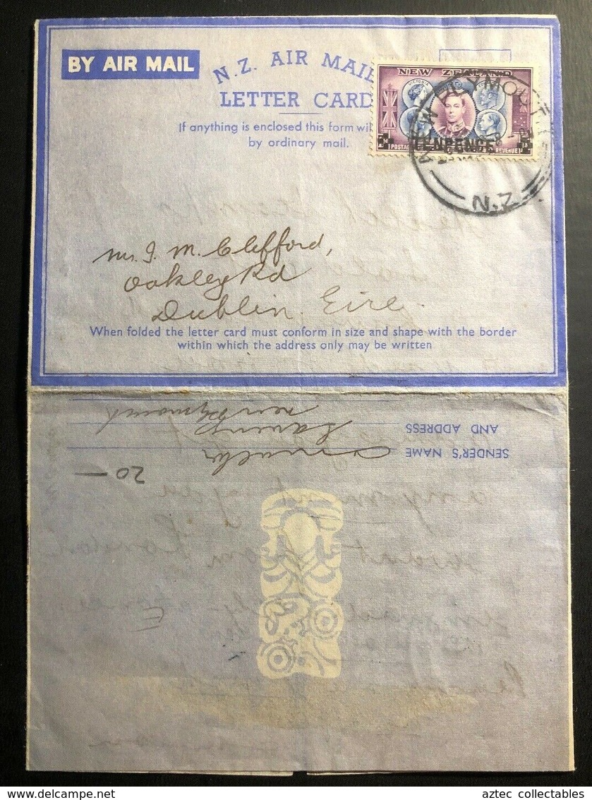 1945 Plymouth New Zealand Illustrated Air Letter  Cover To Dublin Ireland - New Zealand