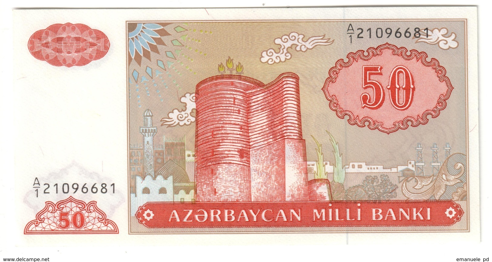 AZERBAIJAN50MANAT1993P17UNCSeries A1 Single Letter 17A.CV. - Arzerbaiyán