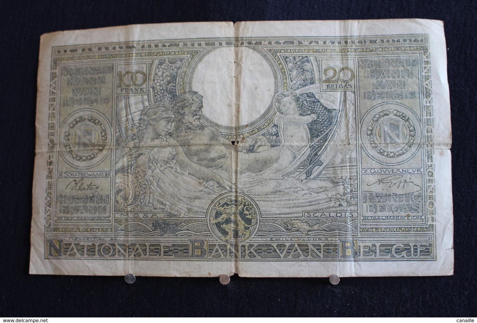 78 / Belgique - 100 Francs-20 Belgas, 1942 -   Nationale Bank Van Belgie   /  N° 8281.K.587 - [ 2] 1831-... : Regno Del Belgio