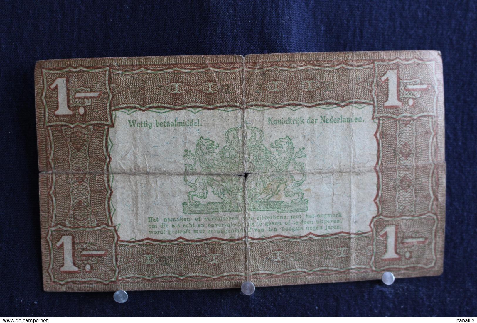 80 / Netherlands 1 Gulden , Zilverbon 1938 /  N° 015534 - 1 Gulden