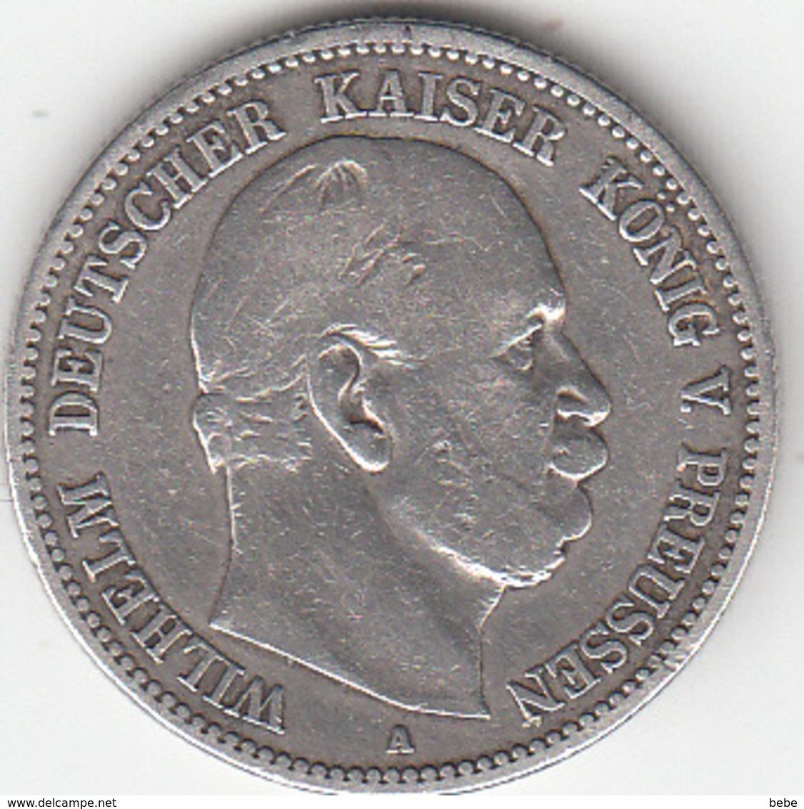 Etats Allemands, PRUSSIA, Wilhelm V,   2 Mark 1877  A SUPERBE - 2, 3 & 5 Mark Argent