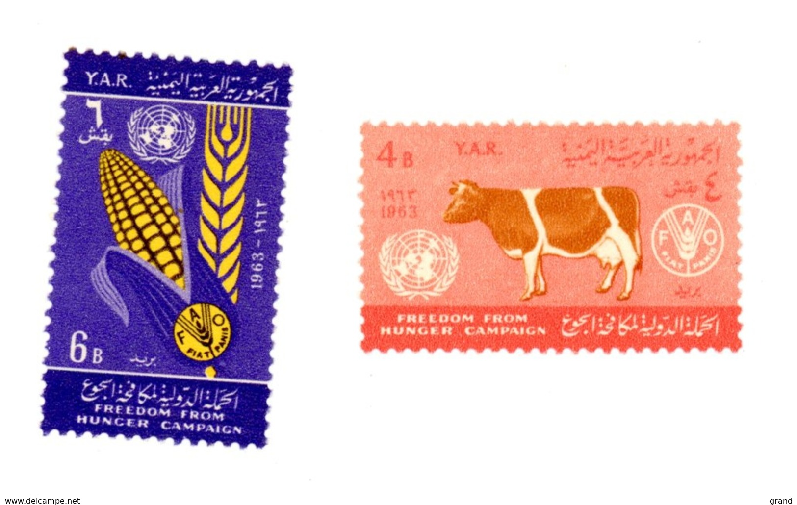 Yemen A.R. 1966-FAO,vache,blé--MI 283/4 ***MNH- - Against Starve