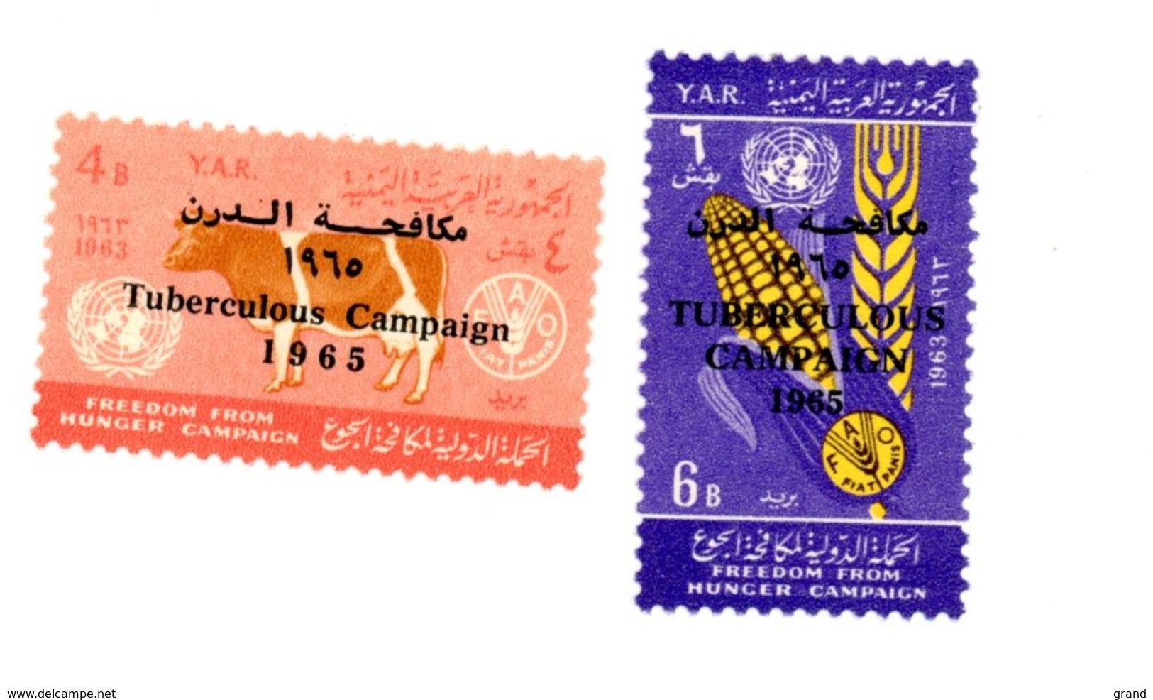 Yemen A.R. 1966-FAO,vache,blé--MI 449/50 ***MNH-Surcharge Campagne Tuberculose - Tegen De Honger