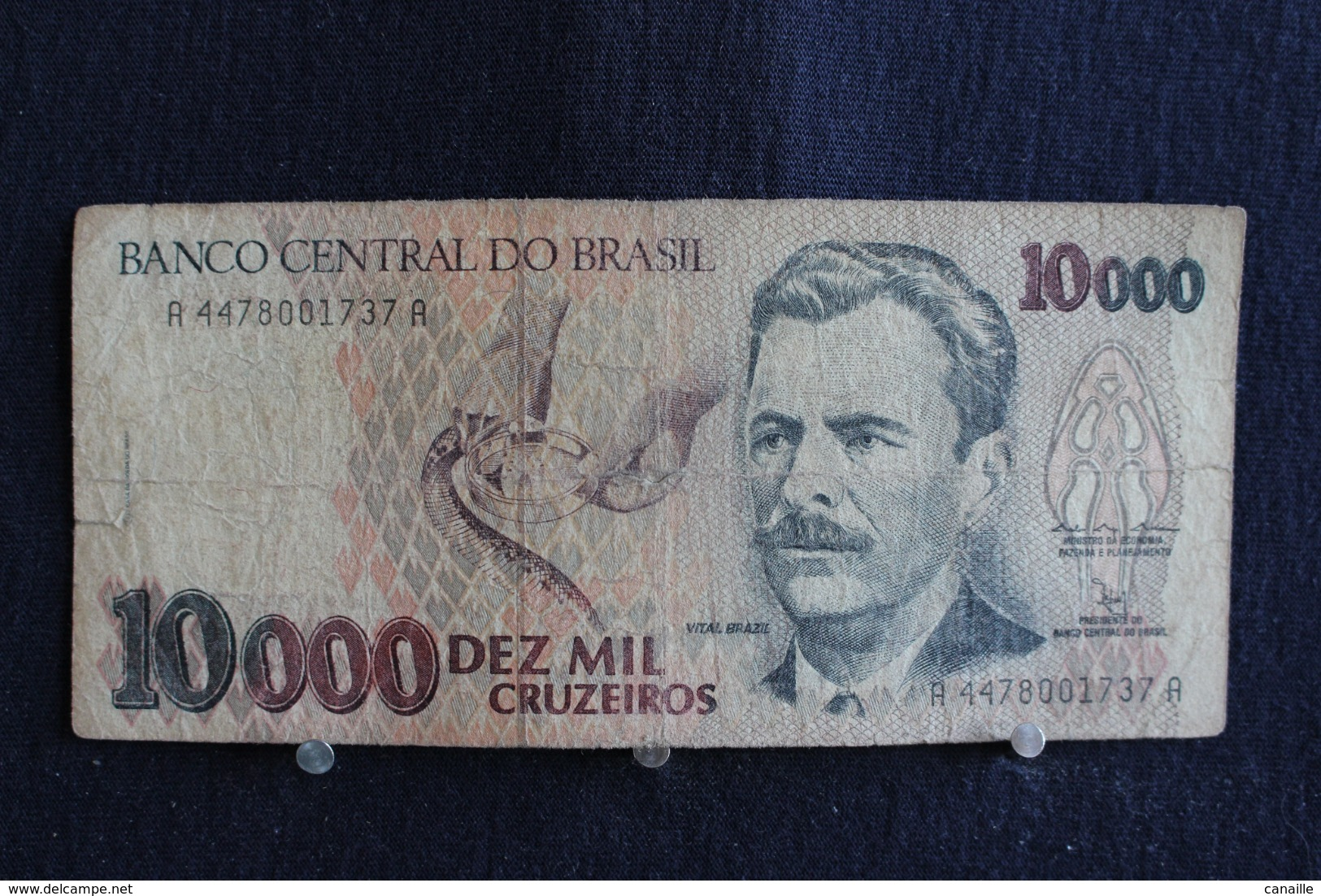 92 / Brésil, Banco Central Do Brasil, 10000  Cruzeiros   /  N° A 4478001737 A - Brasilien