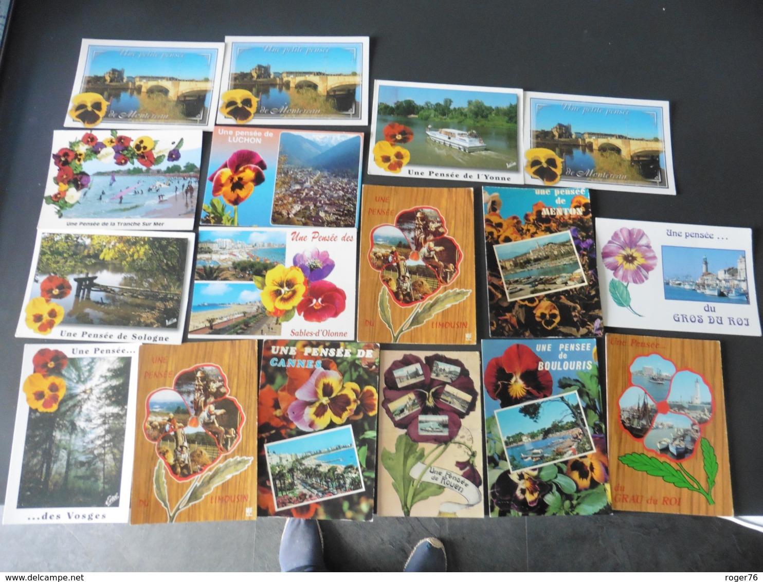 LOT  DE  43    CARTES  POSTALES     UNE   PENSEE   DE   : - Cartes Postales