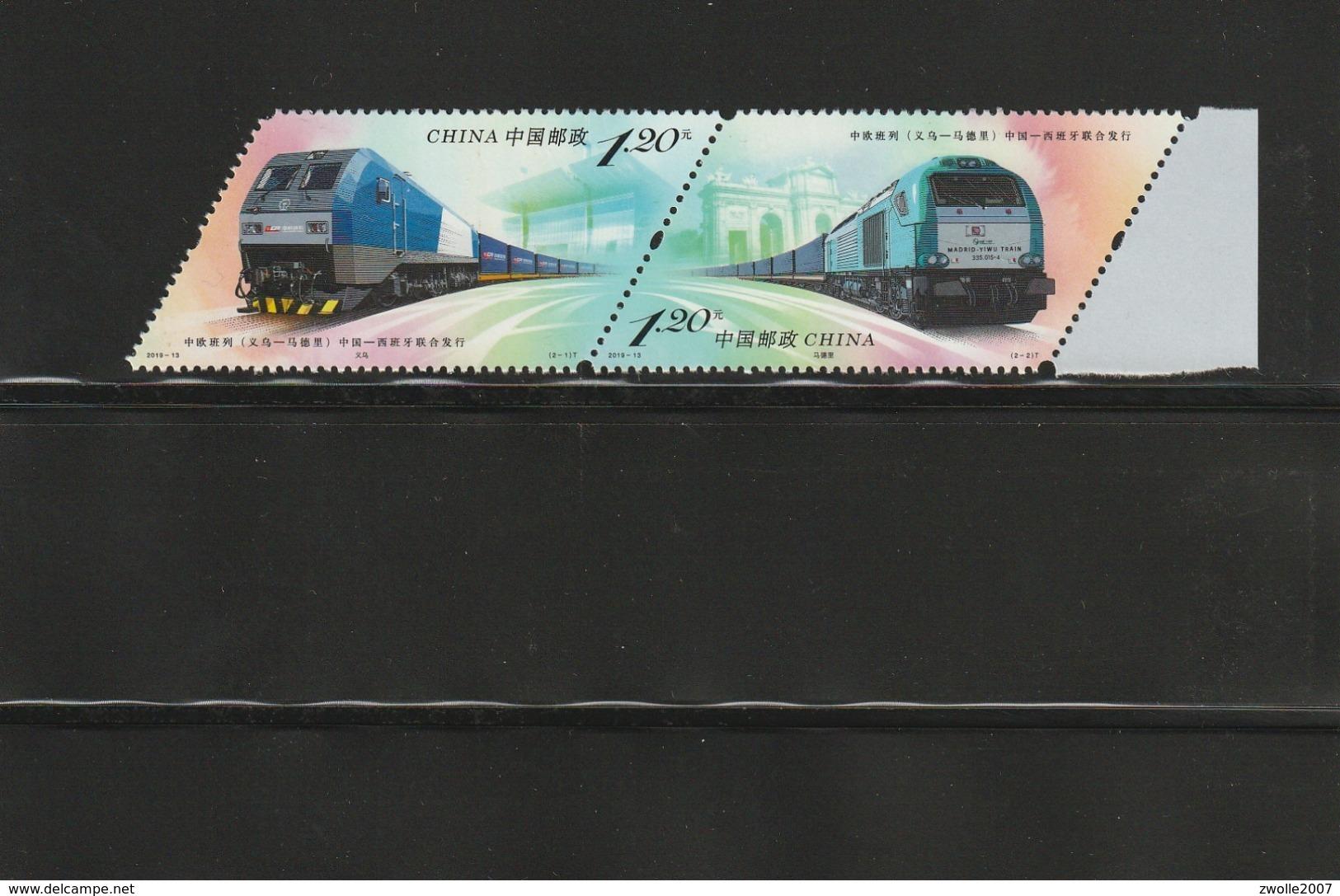 China 2019 - 13 China-Europe Railway Express (Yiwu - Madrid) Pair *** MNH - 1949 - ... People's Republic