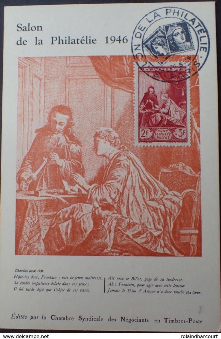 R1949/1125 - 1946 - POUR LE MUSEE POSTALE - N°753 - CP 1er Jour - Cachet : SALON DE LA PHILATELIE / PARIS / 25 MAI 1946 - France