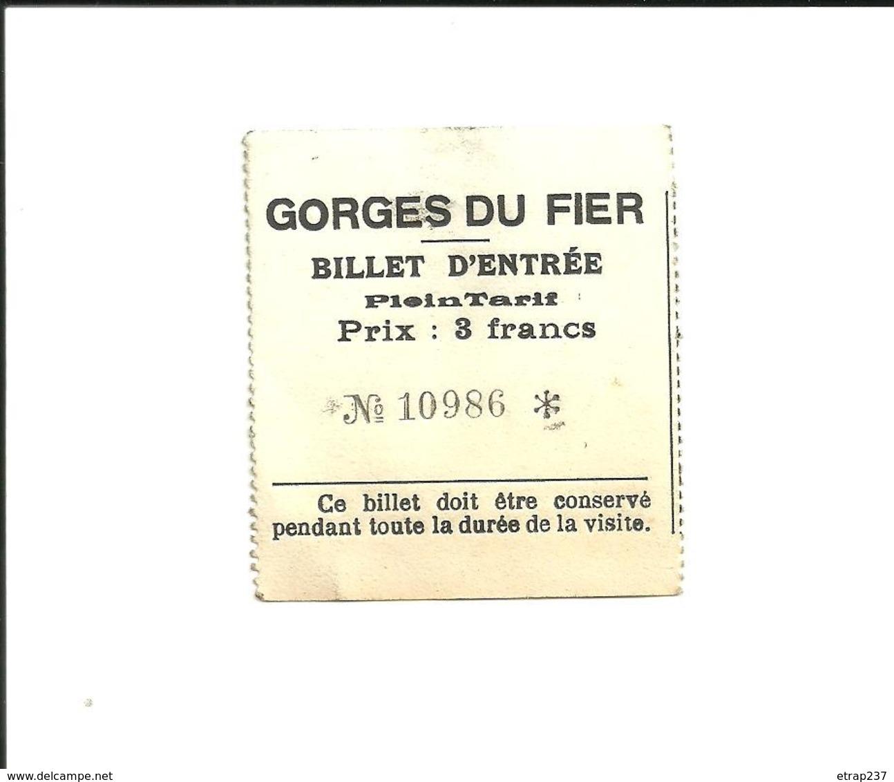 1 Ticket Ancien. Entrée Gorges Du FIER  (Haute-Savoie / France). Voir Description - Tickets - Vouchers