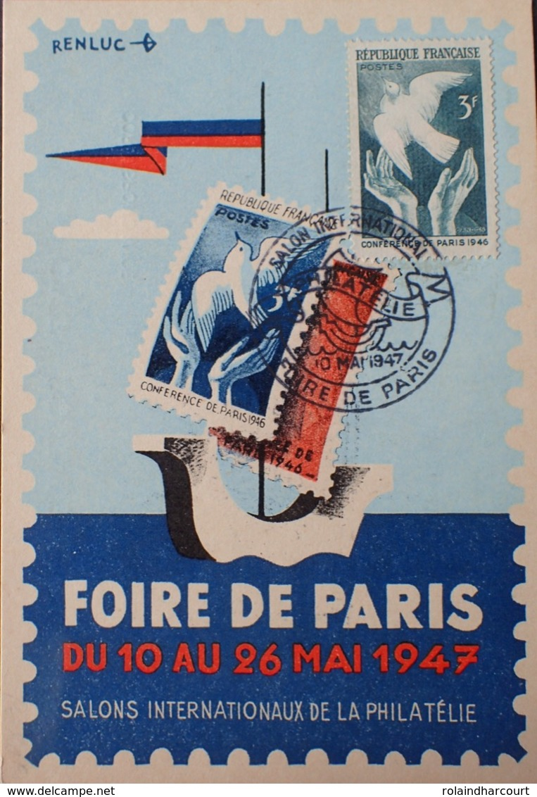 R1949/1133 - CONF. De La PAIX à PARIS - N°761 Sur CP De La FOIRE De PARIS (10 Au 26 MAI 1947)  SALONS De La PHILATELIE - France