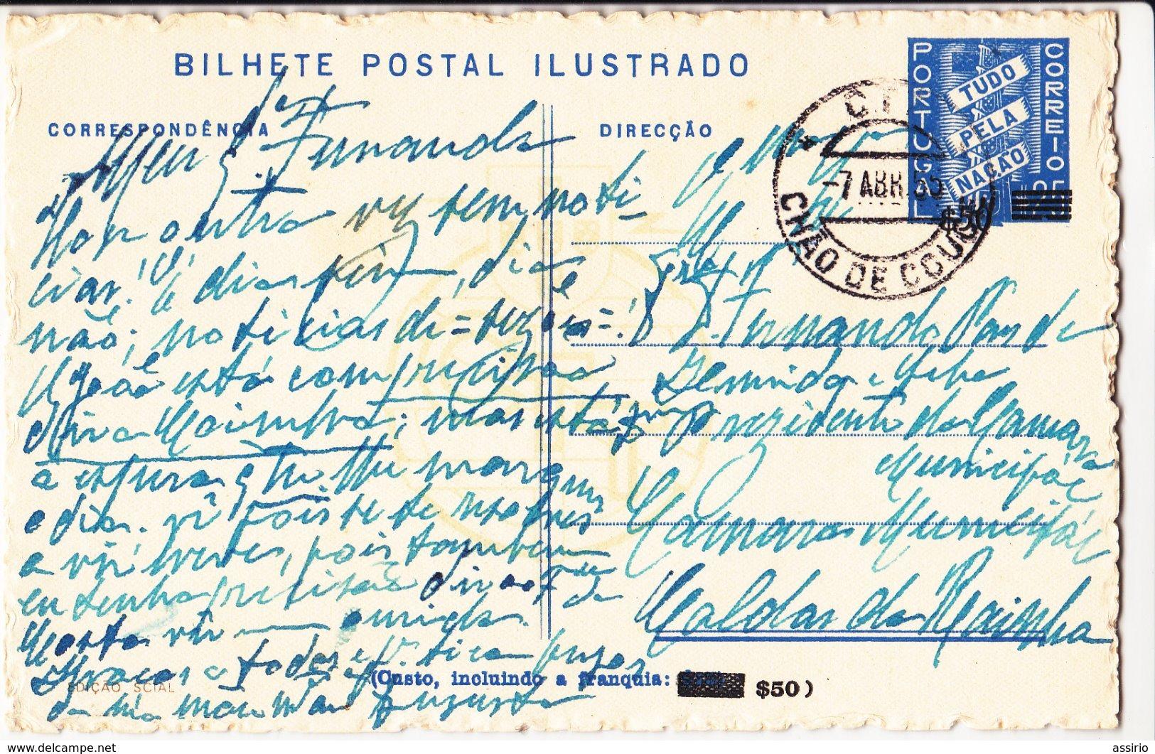 Portugal -Bilhete Postal Ilustrado -Castelo De Leiria  Cirtculado Para Caldas Da Rainha -1955 - Leiria
