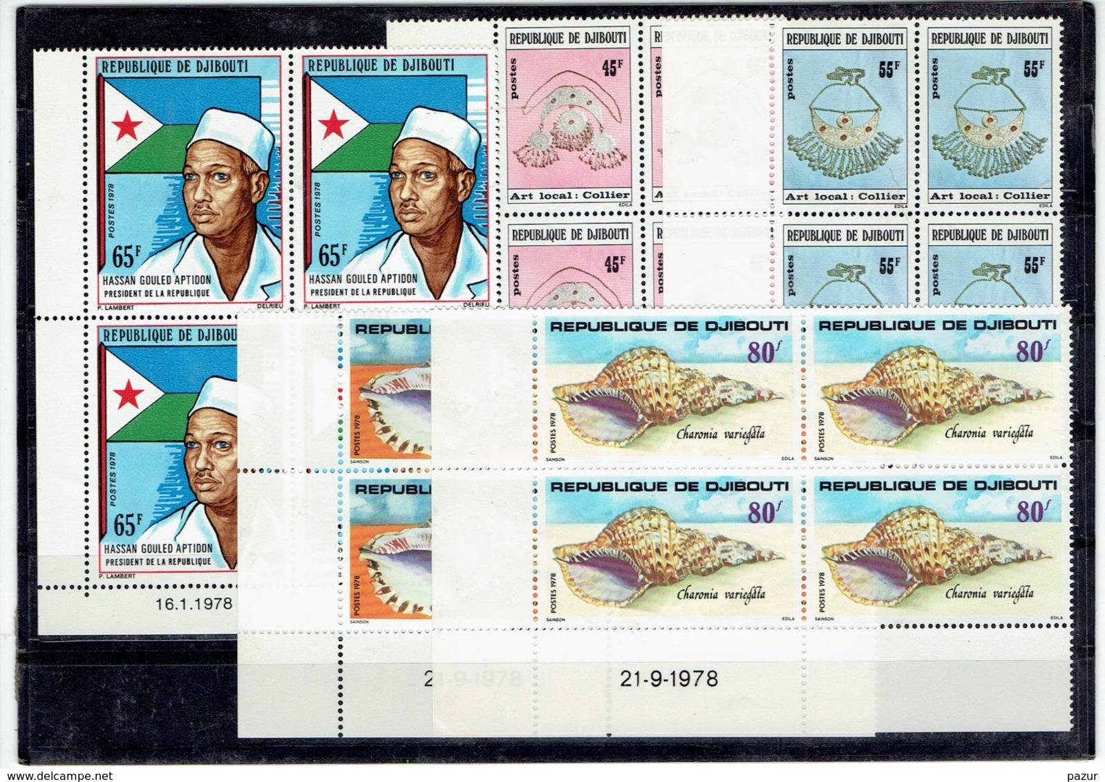 TP DJIBOUTI - AFRIQUE - BLOC DE 4 COINS DATES - N°476 - 481/2 - 486/7 - XX - 1978 - Gibuti (1977-...)