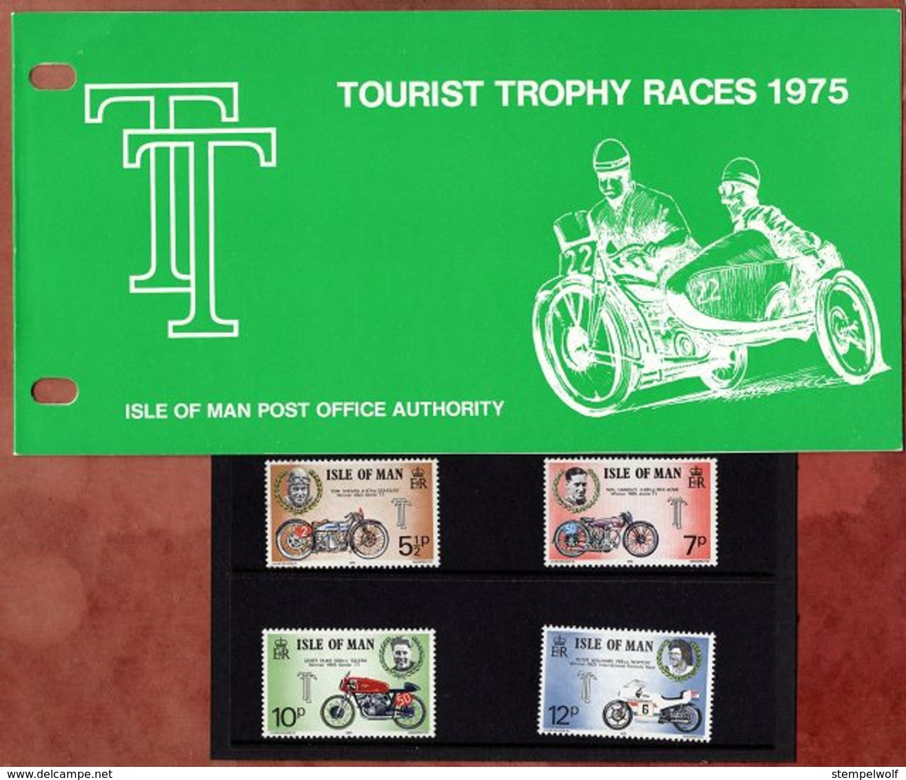 Satz Tourist-Trophy-Motorradrennen In Praesentationsmappe 1975 (80711) - Isle Of Man