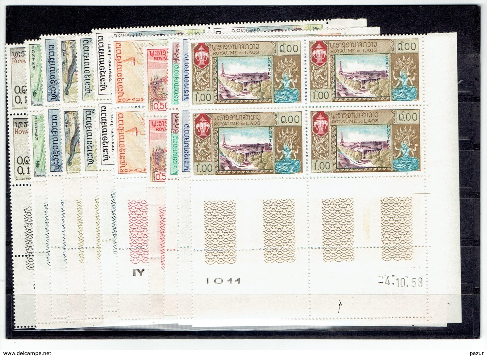 TP LAOS - ASIE - TP BLOCS DE 4 COINS DATES - N°44/50 - 51/54 - XX - 1958 - Laos