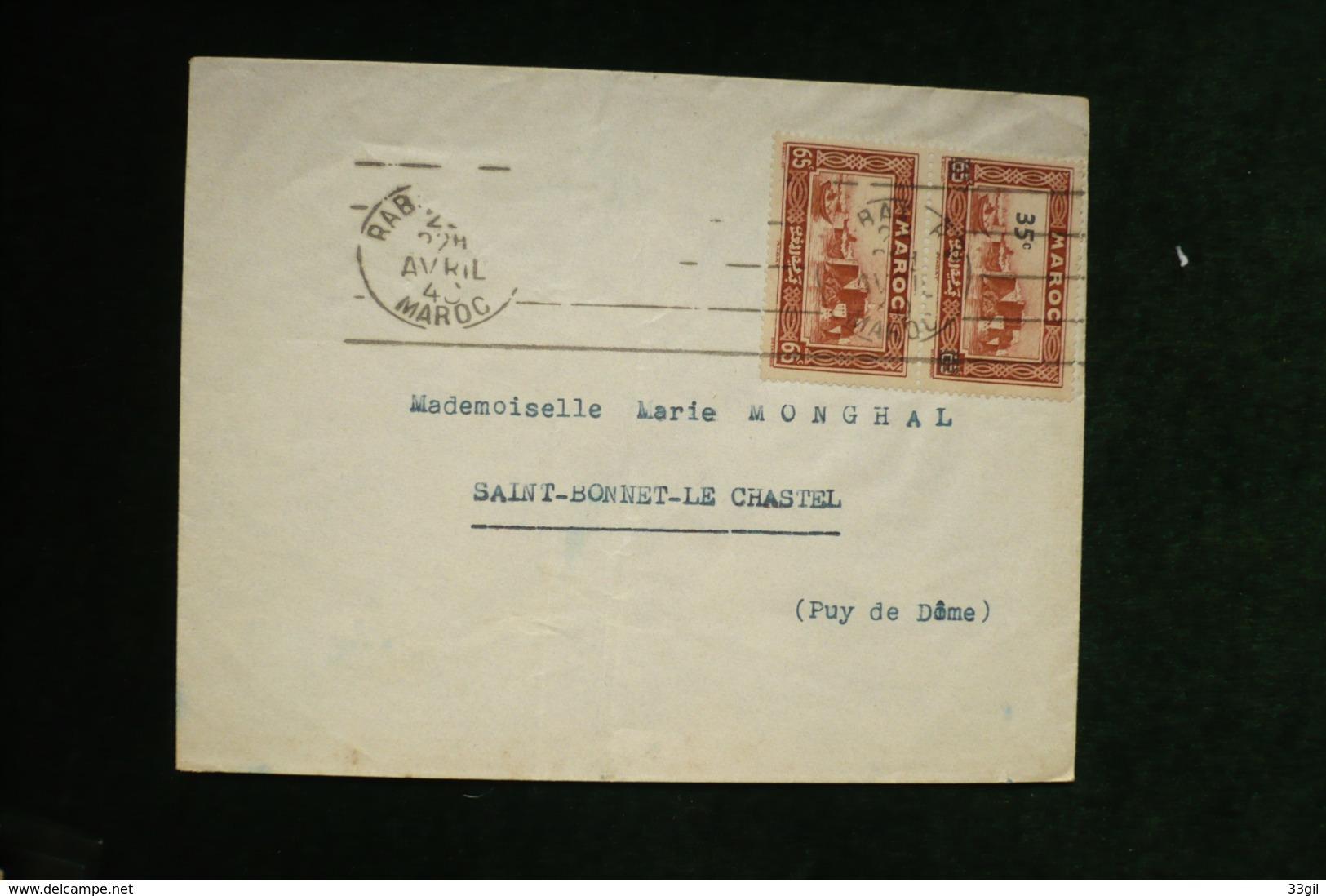 Maroc Lettre Avec Paire Surchargé Et Non Surchargé Rabat Avril 1940 (pas Courant) - Marokko (1891-1956)
