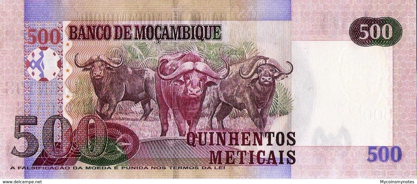 """MOZAMBIQUE 500 Meticais, 2011, P153, UNC, """"Wild Water Buffalo"""" - Mozambique"""