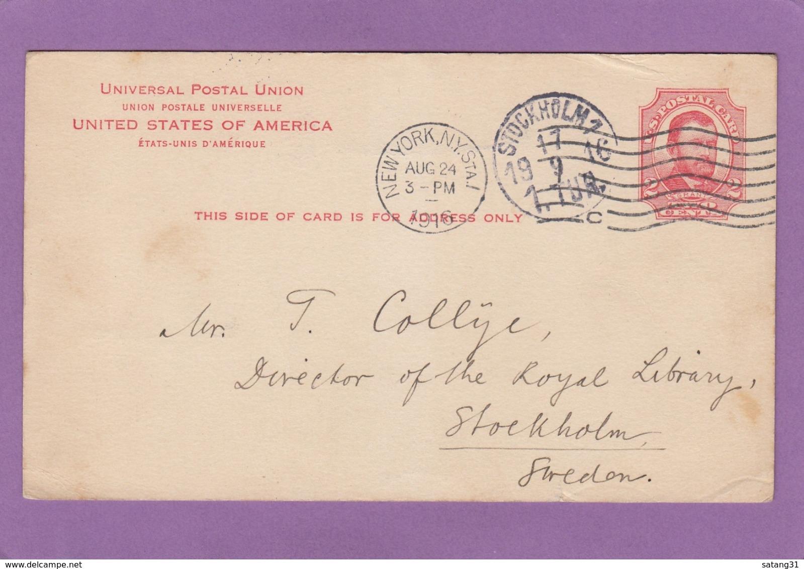 ENTIER POSTAL DE NEW-YORK POUR STOCKHOLM,SUÈDE,1916. - ...-1900