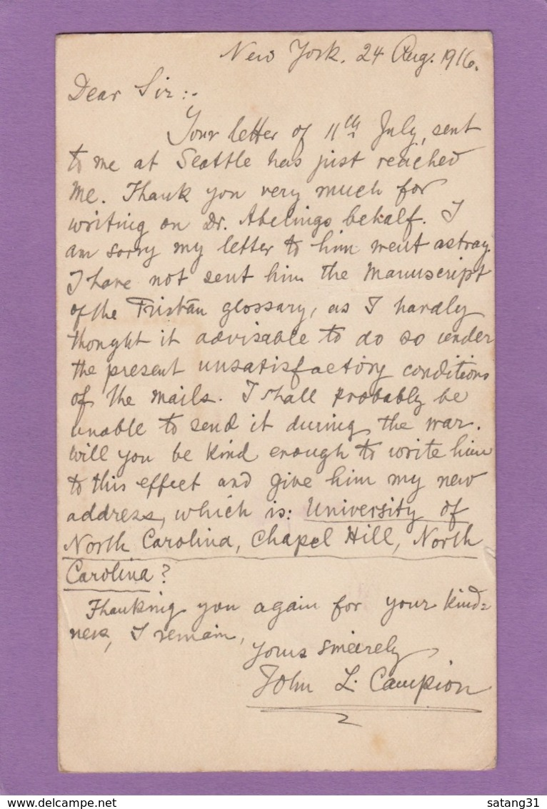 ENTIER POSTAL DE NEW-YORK POUR STOCKHOLM,SUÈDE,1916. - Ganzsachen