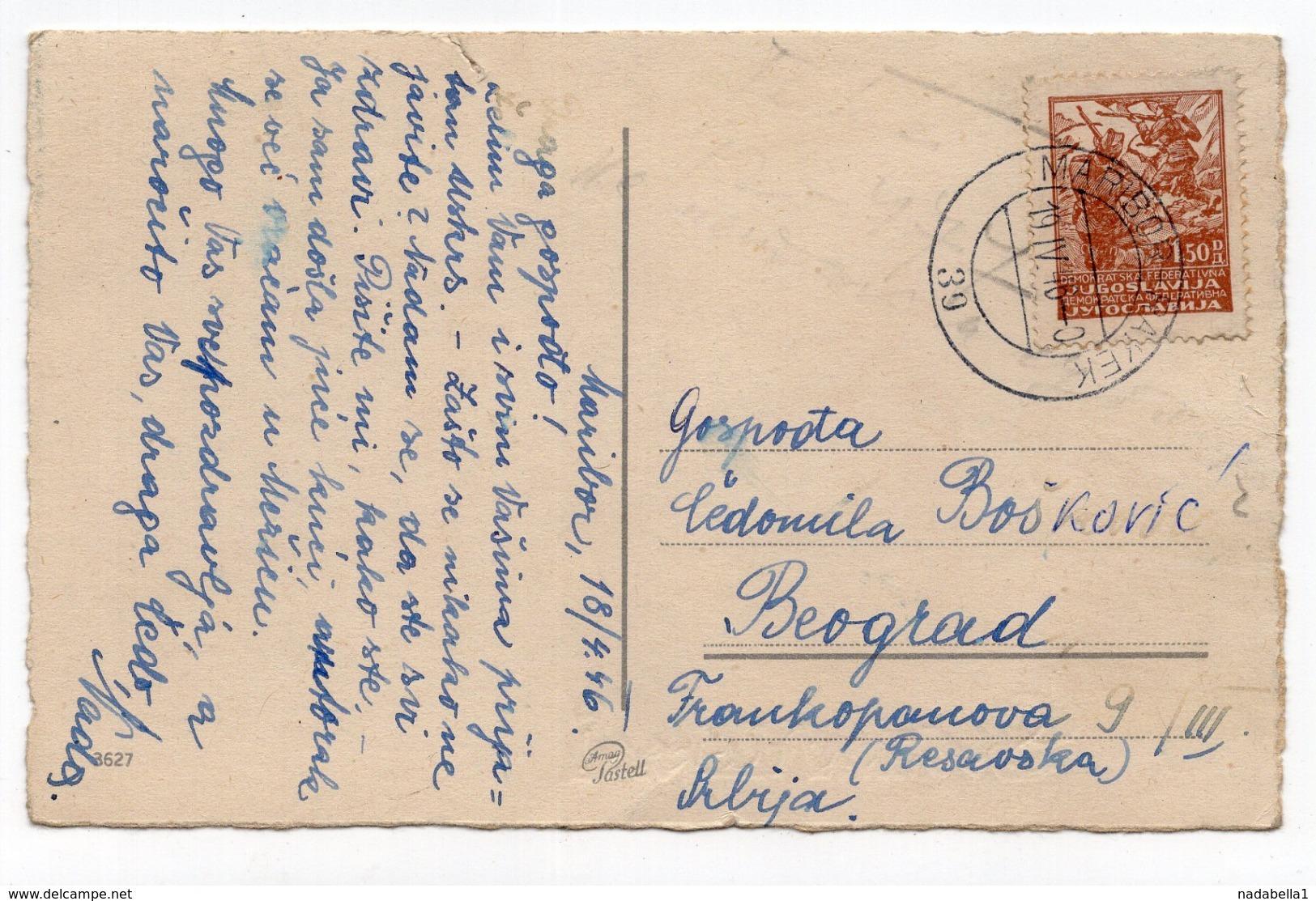 1946 YUGOSLAVIA, SLOVENIA, EASTER CARD, TPO 39  MARIBOR - RAKEK, SENT TO BELGRADE, ILLUSTRATED POSTCARD, USED - Yugoslavia
