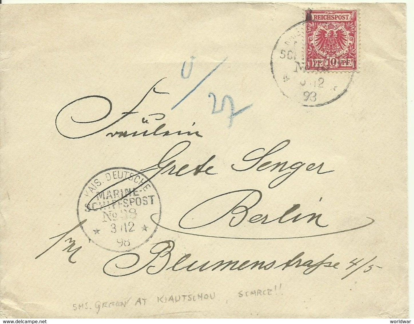 1898 Kiautschou Kaiserliche Deutsche Marine Schiffspost Nr 38 (SMS Gefion) Auf Brief Nach Berlin - Deutsche Post In China