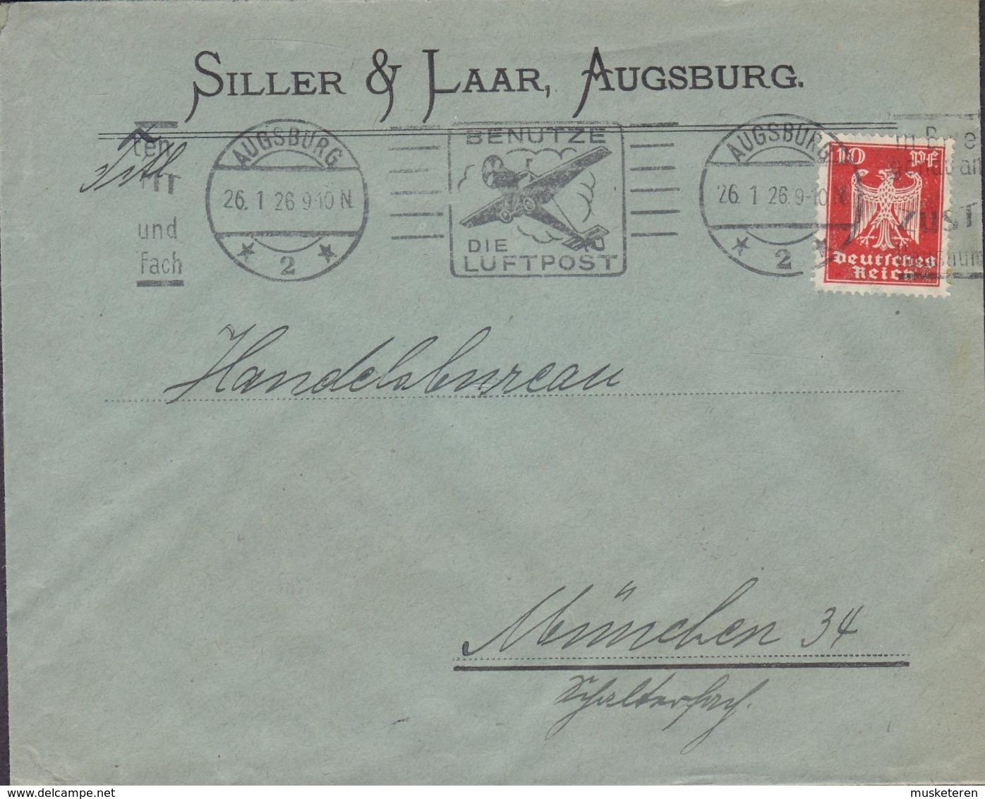 Deutsches Reich SILLER & LAAR Slogan 'Benutze Die Luftpost' AUGSBURG 1926 Cover Brief Adler Stamp - Deutschland