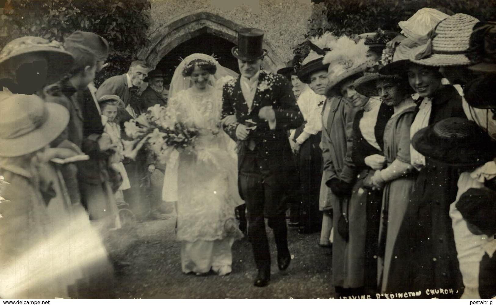 RPPC LEAVING BLEDINGTON CHURCH   FRANK PACKER PHOTOGRAPHER CHIPPING NORTON HISTORIA SOCIAL - Other