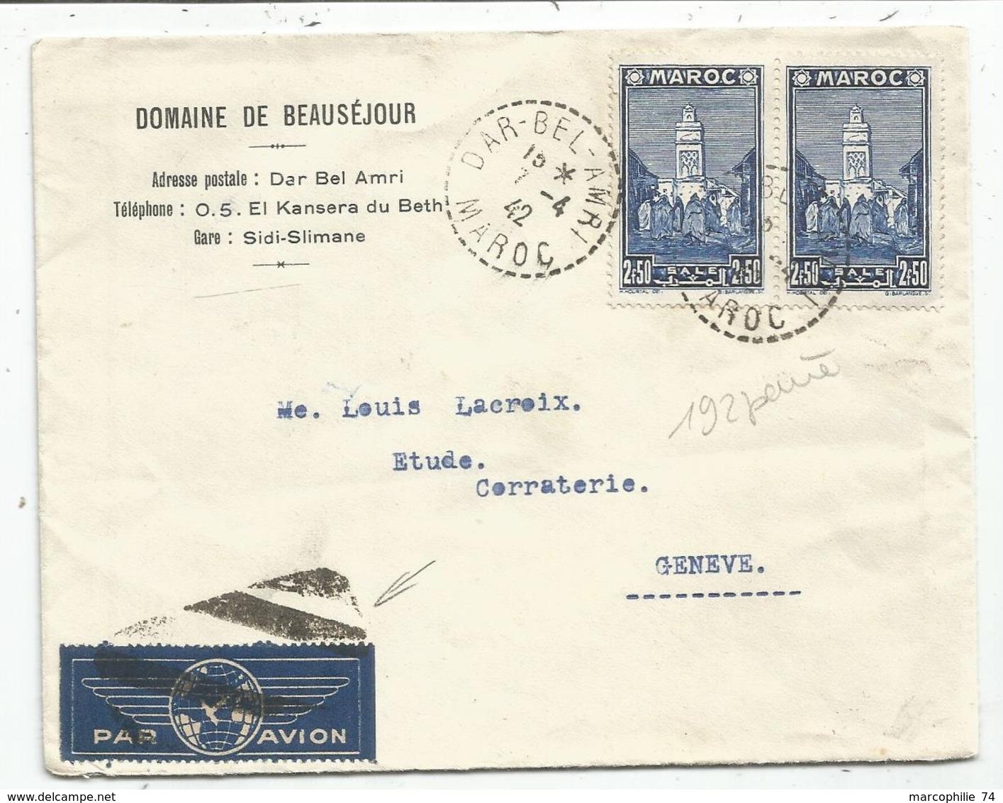 MAROC 2FR50 PAIRE LETTRE AVION C. PERLE DAR BEL AMRI 7.4.1942 POUR SUISSE - Briefe U. Dokumente