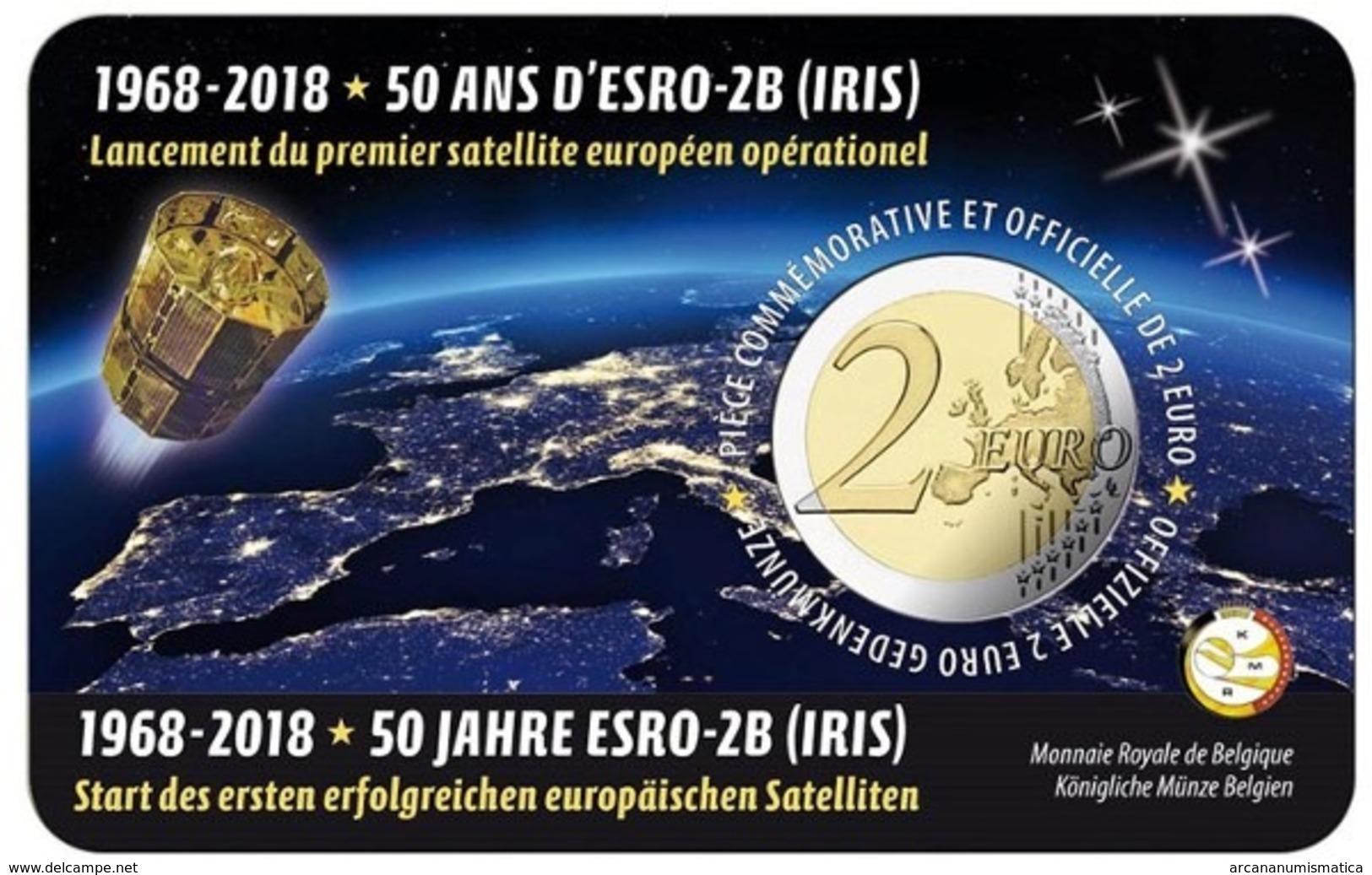 """BELGICA  2€ 2.018  2018  BIMETALICA """"50 YEARS ESRO""""  SC/UNC T-DL-12.291 - Belgium"""