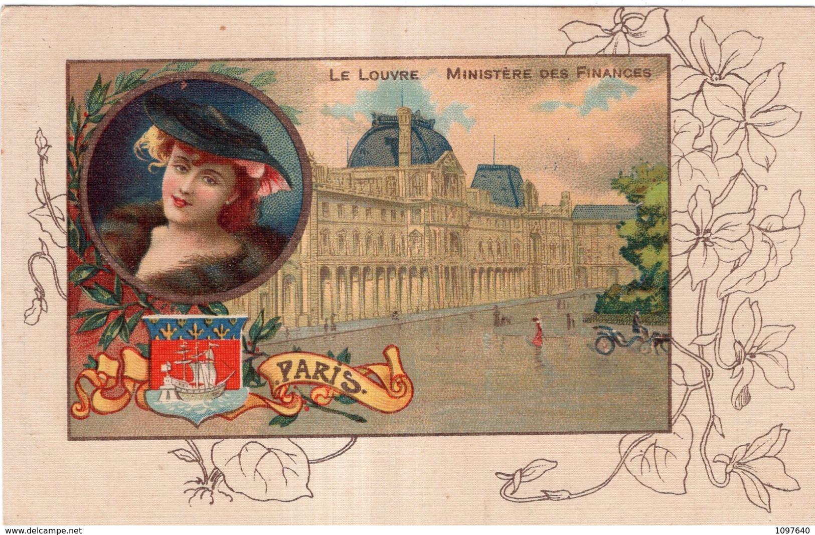 CHICOREE A LA MENAGERE PAPIER GRAINS DE CAFE LE LOUVRE MINISTERE DES FINANCES PARIS - Advertising