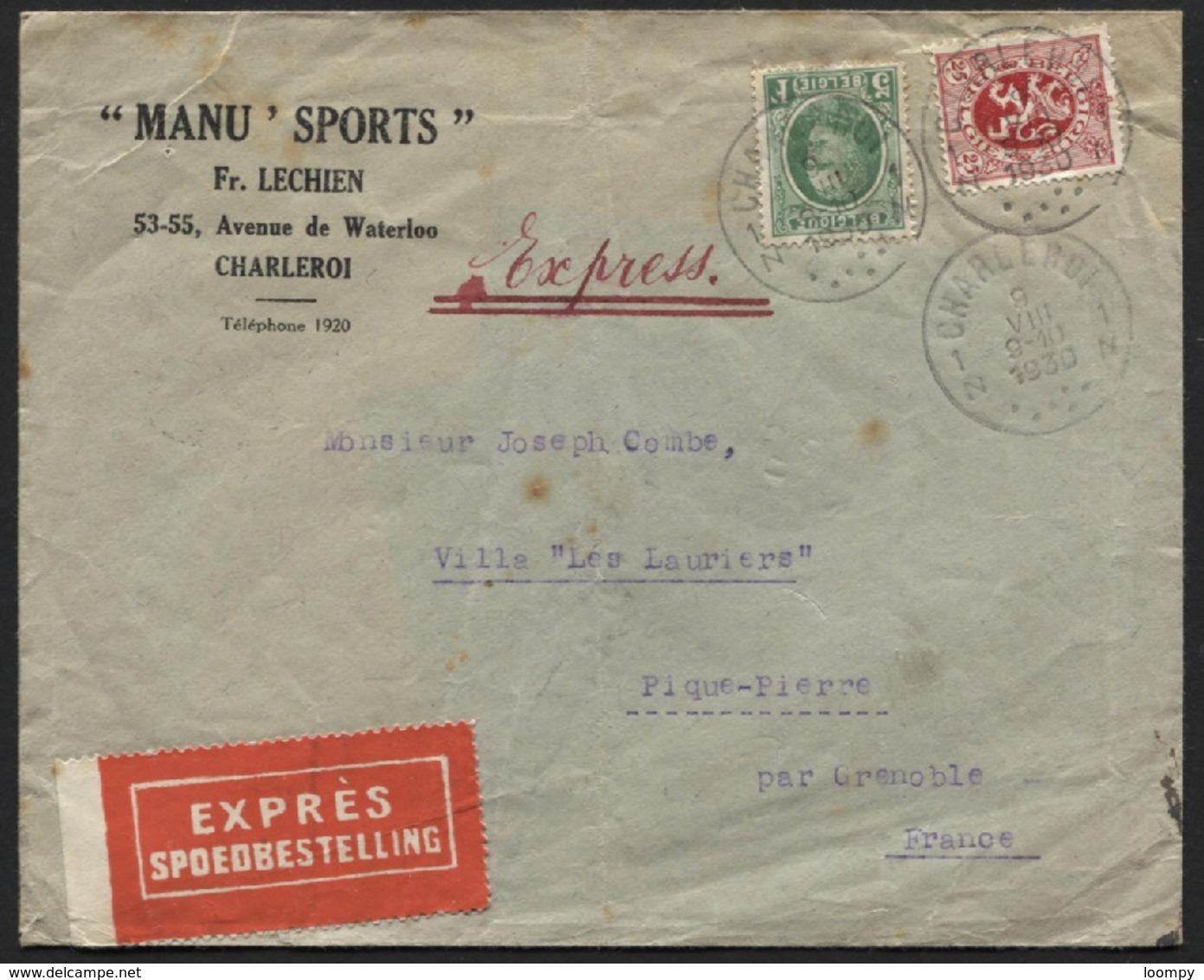 Houyoux 5fr + 25c Obl. CHARLEROI S/lettre Brief Par Exprès Spoedbestelling Vers La France 1930. Port Exact. Pli Vertical - 1922-1927 Houyoux