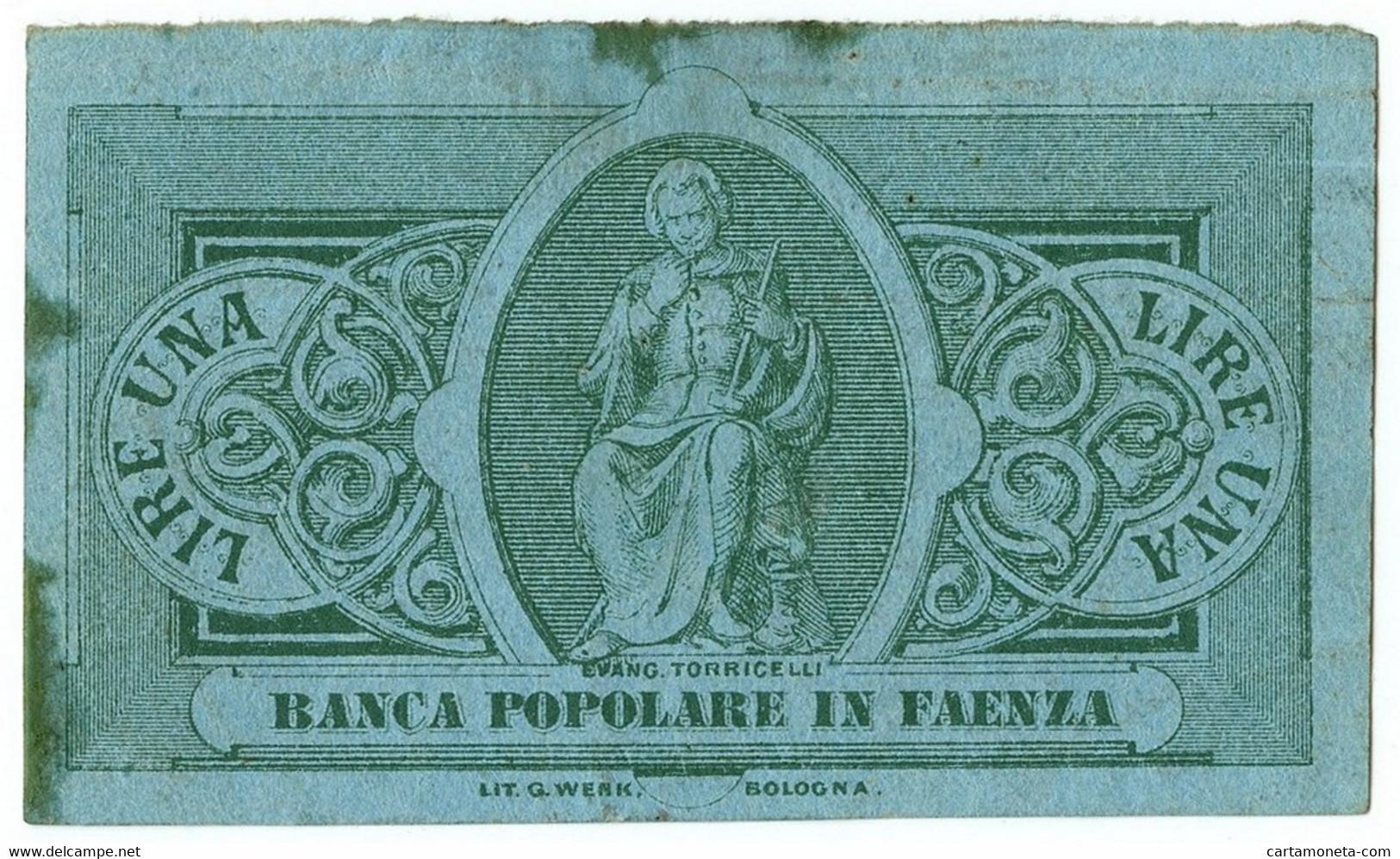 1 LIRA NON EMESSO BIGLIETTO FIDUCIARIO BANCA POPOLARE IN FAENZA QSPL - [ 1] …-1946 : Regno