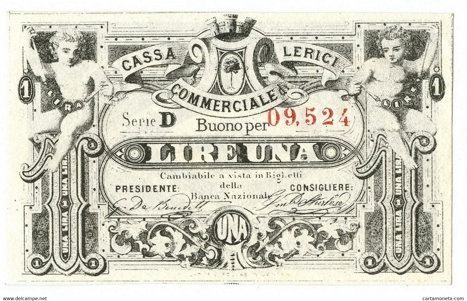 1 LIRA BIGLIETTO FIDUCIARIO CASSA COMMERCIALE LERICI QFDS - [ 1] …-1946 : Regno