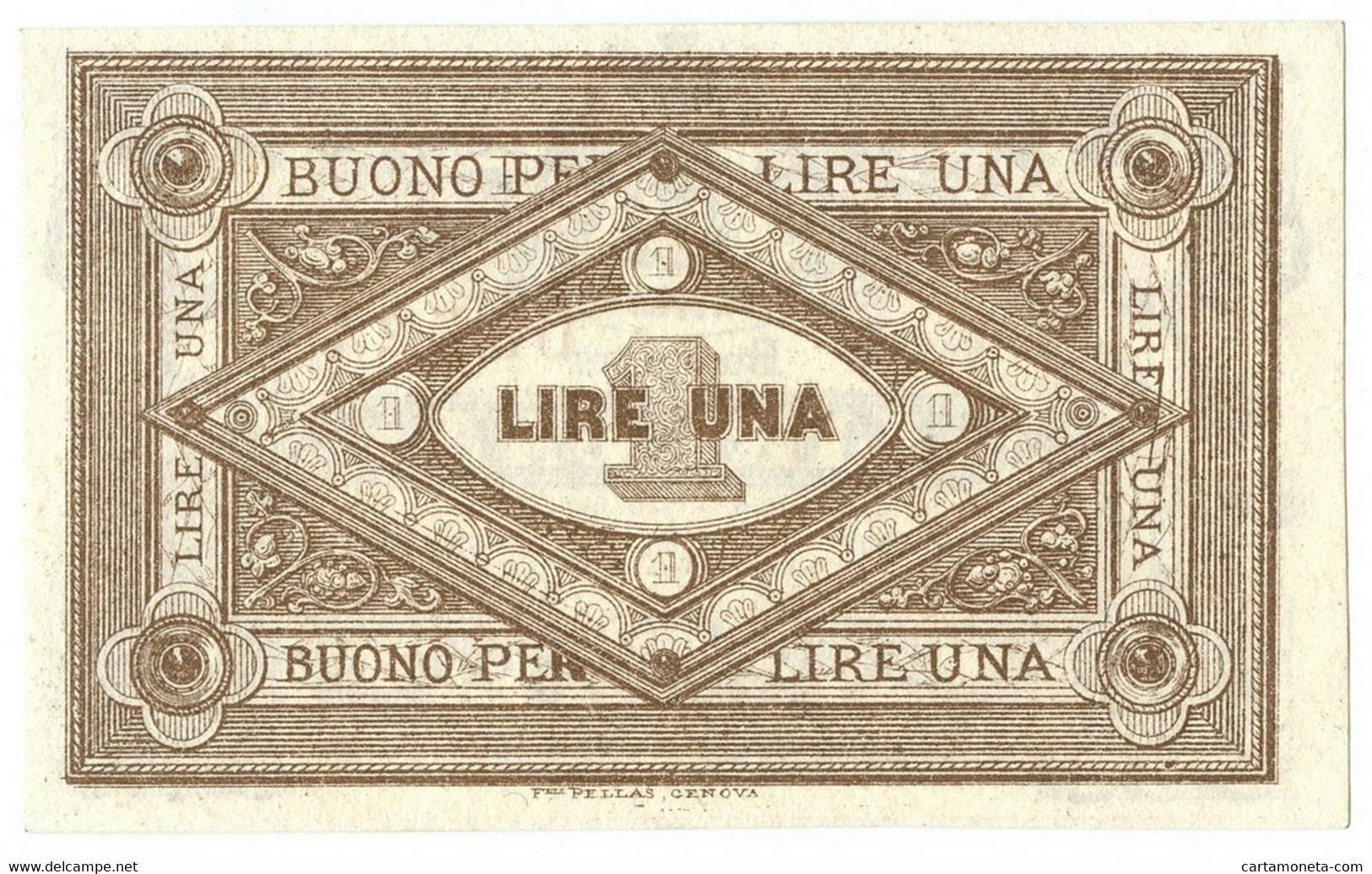 1 LIRA BIGLIETTO FIDUCIARIO CASSA COMMERCIALE LERICI QFDS - Altri