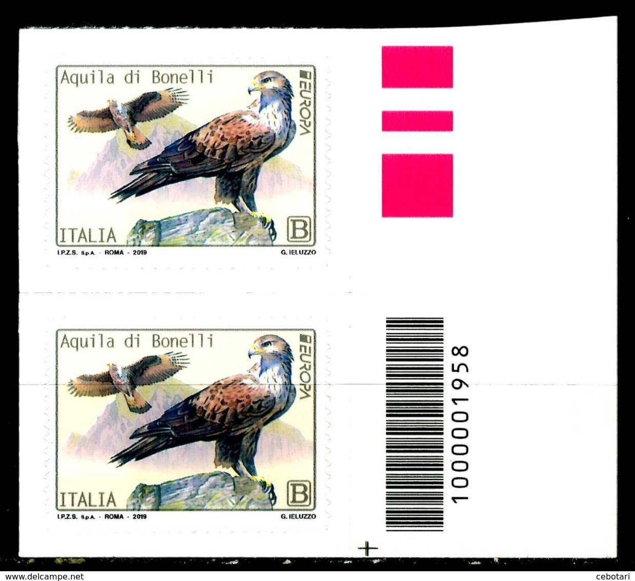 ITALIA / ITALY 2019** - Europa 2019 - Uccelli / Birds - Aquila Bonelli - Coppia Con Codice A Barre MNH Autoadesiva - 2019