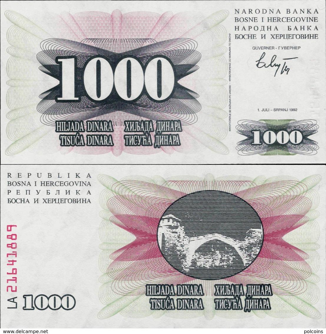 Bosnia And Herzegovina 1992 - 1000 Dinara - Pick 15 UNC - Bosnia Erzegovina