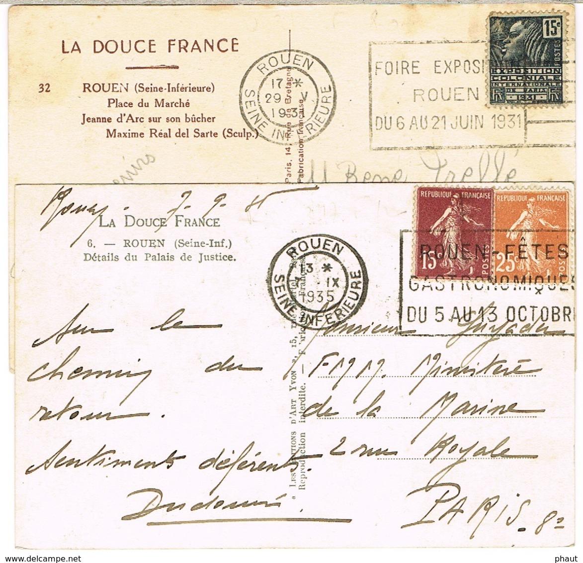 DEUX O.MEC FLIER ROUEN SUR CPA - Marcophilie (Lettres)