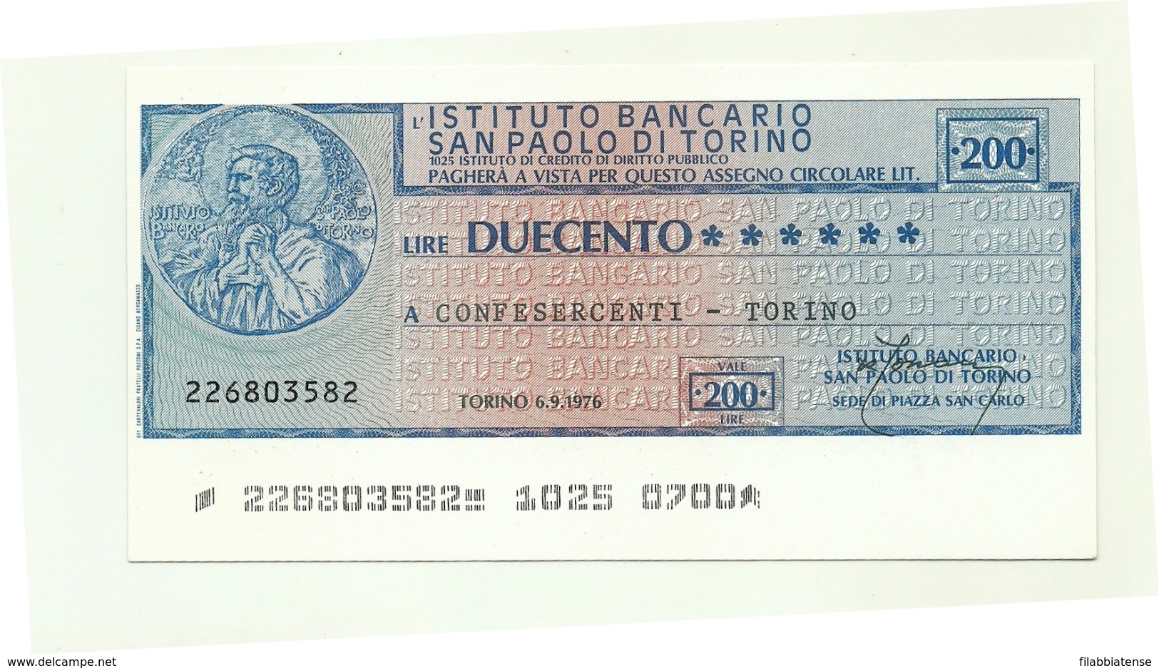 1976 - Italia - Istituto Bancario San Paolo Di Torino - Confesercenti - Torino - [10] Assegni E Miniassegni